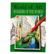 A4 Colour Artist Book - Wonders of the World - 24 Illustrated Scenes to Colour - Size 297mm x 210mm