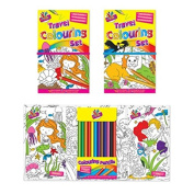 Children Travel Colouring Book Set with 12 Colouring Pencils x 1 Book