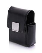 """Cigarette case """"Madrid"""" PU leather bag for Cigarette packs Size L + Lighter Black - LK Trend & Style"""