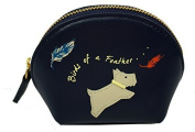 Radley Small Leather Coin Purse Birds Of A Feather Navy