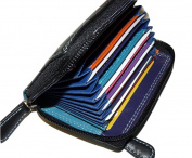 Concertina Leather credit card holder RFID protection multi-coloured BOXED 6091