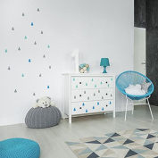 V & C Designs (TM) Blue, Mint and Grey Raindrops Wall Sticker Decals - Ideal for Baby's Nursery Bedroom Playroom