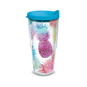 Tervis Watercolour Pineapples Wrap Clear Inner Tumbler with Turquoise Lid, 710ml