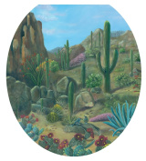 Toilet Tattoos, Toilet Seat Cover Decal, Desert Oasis Cactus, Size Round
