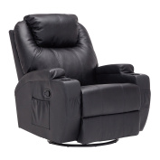 Mecor Massage Leather Recliner Chair Heated 360 Degree Swivel Living Room Chair