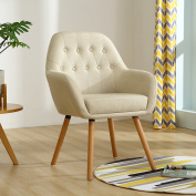 LSSBOUGHT Contemporary Stylish Button-Tufted Upholstered Accent Chair with Solid Wood Legs