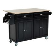HomCom Rolling Kitchen Island Storage Cart w/ Drop Leaf Top - Black