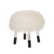 Glitzhome White Faux Fur Round Acrylic Stool 41cm Length