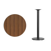 Flash Furniture 80cm Round Walnut Laminate Table Top with 46cm Round Bar Height Table Base