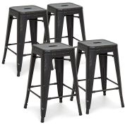 Best Choice Products 60cm Set of 4 High Backrest Industrial Metal Counter Height Bar Stools