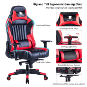 KILLABEE Big and Tall 200kg Gaming Chair - Adjustable Tilt, Back Angle and 3D Arms Ergonomic High-Back Racing Leather Executive Computer Desk Office Chair Detachable Headrest and Lumbar Support, Red