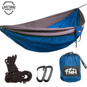 Double & Single Camping Hammocks - Lightweight Nylon Portable Hammock, Best Parachute Hammock For Backpacking, Camping, Hiking, Beach With FREE Heavy Duty Carabiner Clips