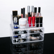 Clear Acrylic Cosmetic Storage Organiser, Boxes Makeup and Jewellery Organiser Dispaly Box, 5 Drawers with Removable Black Mesh Padding