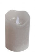 Flickering Flame Unscented LED Pillar Grey Candle by Masada, Powered by Two AA Batteries For Wedding Parties and Home Décor. On/Off Timer Switch