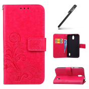 Huawei Y625 Case,Huawei Y625 Wallet Case,Leather Flip Case for Huawei Y625, Ukayfe [Embossing Clover Flower Leaf] Pattern Premium PU Leather Magnetic Flip Case Cover Pouch Protective Case with Card Slot and Strap for Huawei Y625 + 1x Black Stylus, Hot ..
