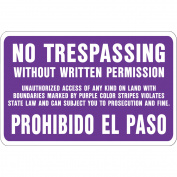 Hy-Ko Bilingual No Trespassing Sign