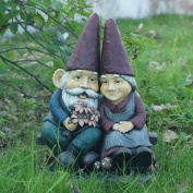 Hi-Line Gift Ltd. Gnome Old Couple On Bench Statue