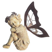 Hi-Line Fairy Sitting with Metal Wings Statue - 24cm .