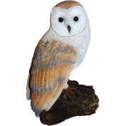 Michael Carr Barn Owl on Log Resin Statue