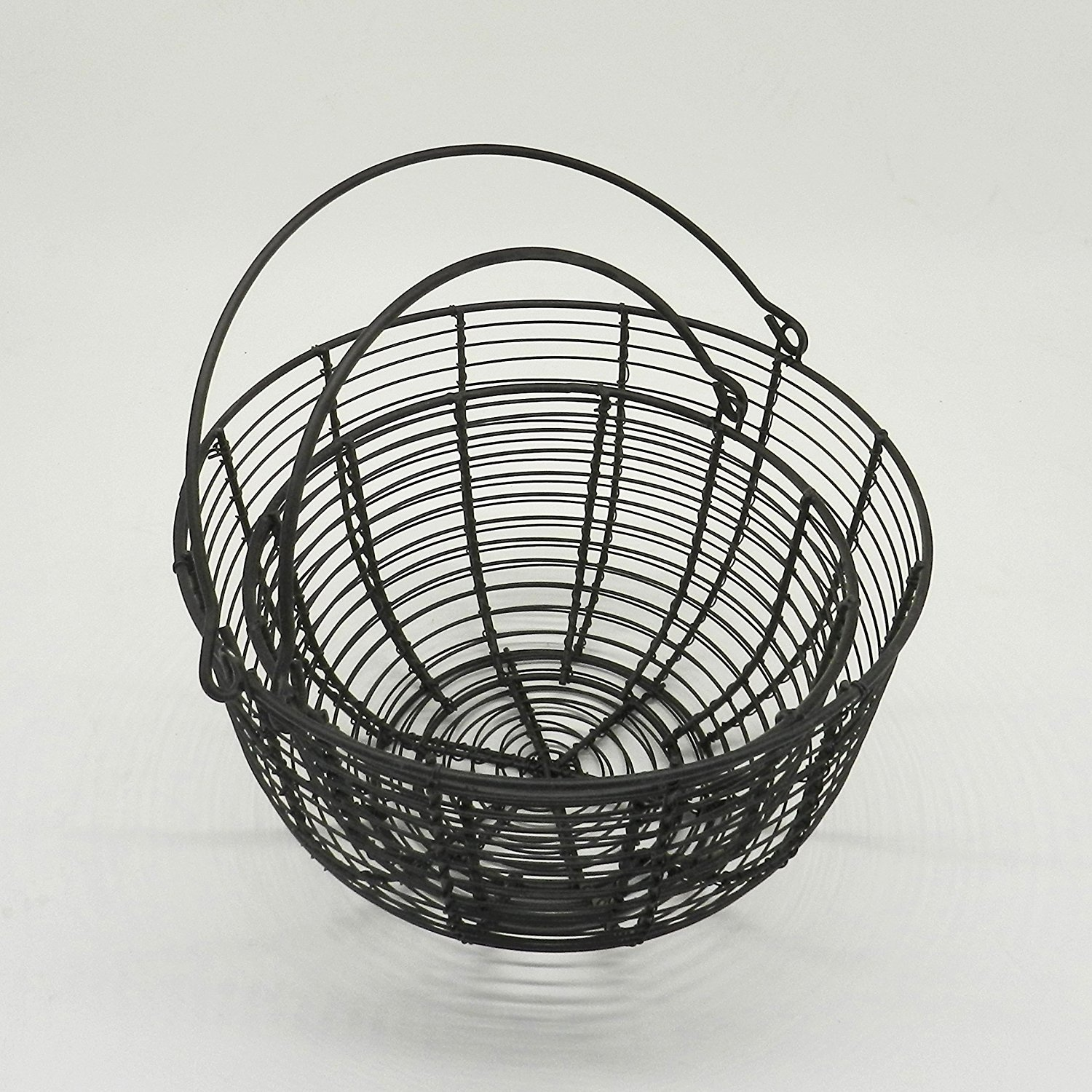 CVHOMEDECO. Round Metal Wire Egg Baskets Wire Fruit Baskets with ...
