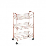 Metaltex Lugano Copper Multi-Purpose Cart of Three Trays, Metal, Copper, 41 x 26 x 66 cm