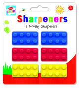 Anker Kids Create/Arts and Crafts Brick Novelty Sharpeners, Plastic, Assorted Colour, 29.7 x 21 x 2 cm, Pack of 6