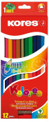Kores Kolores Duo Coloured Pencils, Double, Triang., 12 Pencils / 24 Colours