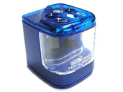 Blue Double Hole Battery Mains Operated Pencil Sharpener with FREE Batteries