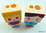 A Pair of DIY Boy and girl Shape 2 hole bladed Sharpener with Rubber