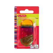 Herlitz Two in One Kombianspitzer Plastic, Rubber and Pencil Sharpener, Translucent