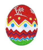 Easter Day Red Flower Yellow Egg Cartoon Hippie Retro Biker Jacket T-shirt Vest Patch Sew Iron on Embroidered Badge Custom