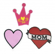 Pink Heart Crown Cartoon Sign Hippie Retro Biker Jacket T-shirt Vest Patch Sew Iron on Embroidered Badge Custom