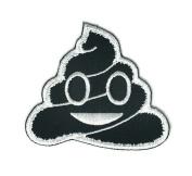Black Poo Smile Face Cartoon Sign Hippie Retro Biker Jacket T-shirt Vest Patch Sew Iron on Embroidered Badge Custom