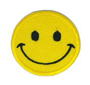 Yellow Smile Face Cartoon Sign Hippie Retro Biker Jacket T-shirt Vest Patch Sew Iron on Embroidered Badge Custom