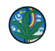 Green Leaf Tree Peace Cartoon Sign Hippie Retro Biker Jacket T-shirt Vest Patch Sew Iron on Embroidered Badge Custom