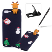 TPU Case for iPhone 7 Plus,Soft Rubber Cover for iPhone 8 Plus,Herzzer Ultra Slim Stylish 3D Christmas Santa Claus Deer Series Design Scratch Resistant Shock Absorbing Flexible Silicone Back Case - Black
