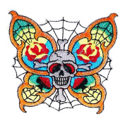 Colourful Butterfly Skull patch Ideal for Decorate your jeans, hats, bags, jackets and shirts