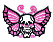 Butterfly Skull Patch Iron On Jacket Cap Jean Costume Embroidered on patches