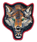Fox Head Brown Embroidered Iron on Patch