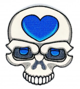 SKULL Big blue Heart patch Symbol Jacket T-shirt Patch
