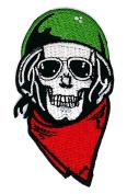SKULL Helmet Sunglasses Ghost Skull Skeleton Bone patch Symbol Jacket T-shirt Patch Sew Iron on Embroidered Sign Badge Costume