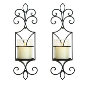 Homebeez Deorative Iron Vertical Candle Holder Sconce (Set of Two),Black Colour With Antique Finish