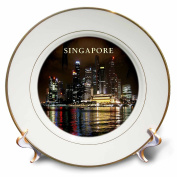 3dRose Beautiful Photo Of Singapore At Night - Porcelain Plate, 20cm