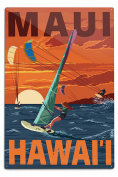 Maui, Hawaii - Windsurfers Scene at Sunset