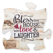 Bless This House with Love & Laughter Distressed 12 x 12 Wood Wall Art Puzzle Piece Plaque