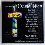 First Communion John 3:16 Mosaic Handmade Glass Cross