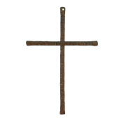 Hammered Antiqued Brown 30cm Metal Decorative Hanging Wall Cross