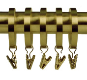 Home Décor Int'l Rings with Clips for Window, Brushed Brass, Set of 8