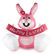 1.2m Easter Inflatable Happy Rabbit Airblown LED Lighted Bunny Yard Indoor Outdoor Home Decoration Pink