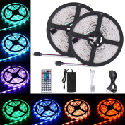 Sunnest 2 Reels 12V 10m Waterproof Flexible LED Strip Light Kit, Led Ribbon, Colour Changing SMD5050 RGB 300 LEDs Light Strips with Remote Controller for Kitchen, Bedroom, Bar, Party, TV Backlight